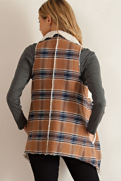 Take Me To The Country Plaid Open Vest with Hand Warmer Pockets Camel Plaid