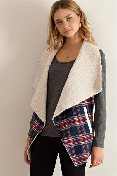Take Me To The Country Open Vest with Hand Warmer Pockets Navy Red Plaid