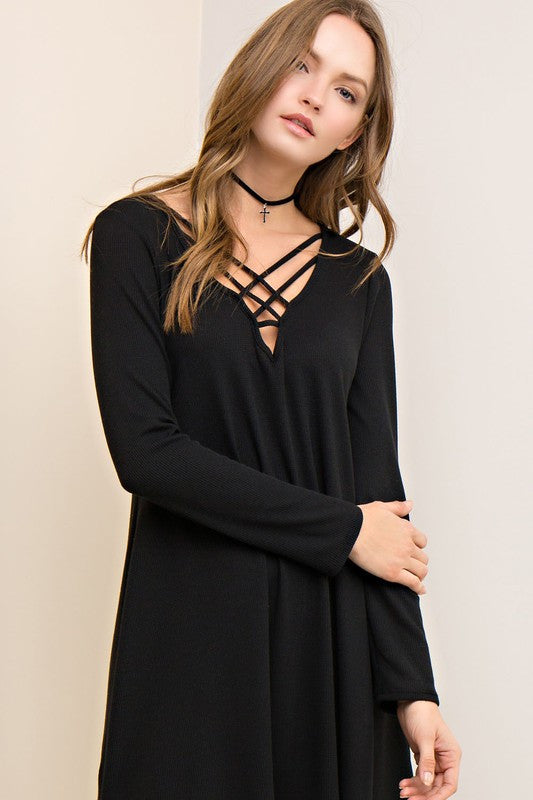 Sale Weekender Collection Casual Criss Cross V Neck T Shirt Dress Black S M