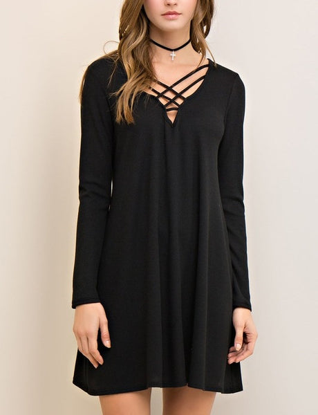 Weekender Collection Casual Criss Cross V Neck T Shirt Dress Black  M