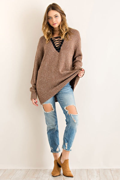 Casual Sunday Relaxed Fit Sweater Top Lace Up V Neck Mocha  M L