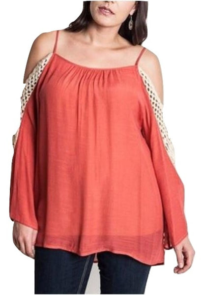 Sale Plus Size Cold Shoulder Crocheted Lace Tunic Top Tomato Red XL 1XL