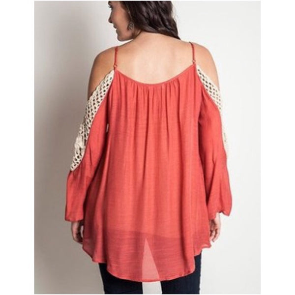 Plus Size Cold Shoulder Crocheted Lace Tunic Top Tomato Red XL 1XL