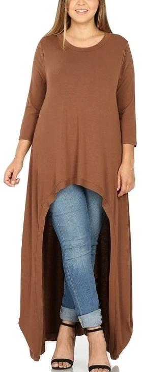 Anna Bella Plus Size High Low Tunic Top Maxi Back Light Brown 1XL 2XL 3XL