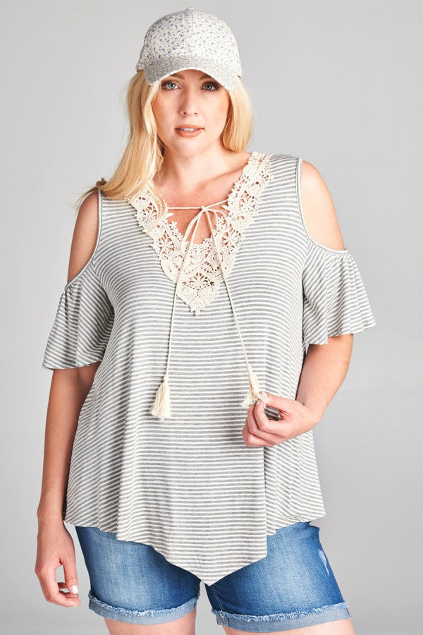 Cold Shoulder , Warm Heart Lace embellished T shirt Top Plus Size Gray 1XL 2XL 3XL
