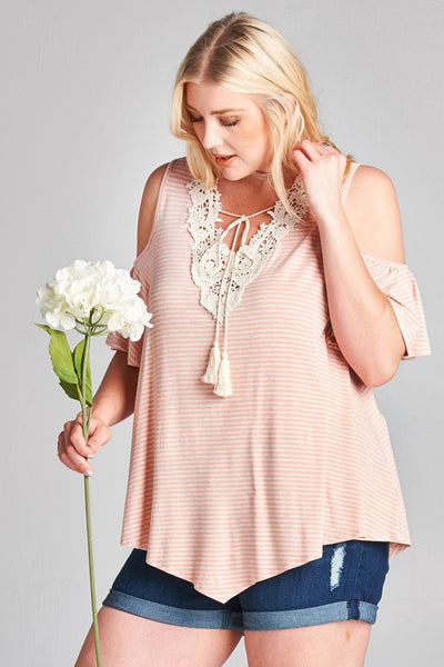 Cold Shoulder , Warm Heart Lace embellished T shirt Top Plus Size Peach1XL 2XL 3XL
