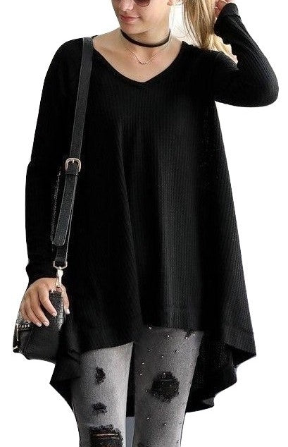 Casual Sunday Waffle Thermal Swing Tunic High Low Hem Black Small