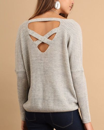 Casual Cross Back Sweater Top Light Weight Umgee Heather Grey S