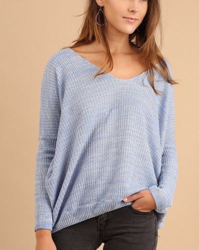 Casual Cross Back Sweater Top Light Weight Umgee Periwinkle  S