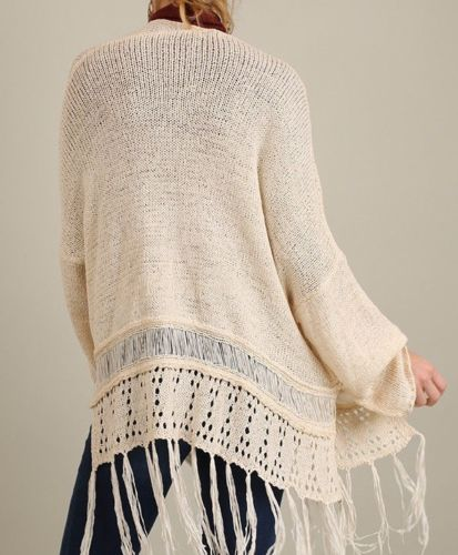 Sale Day Out Fringe Open Cardigan Sweater Cream  M L