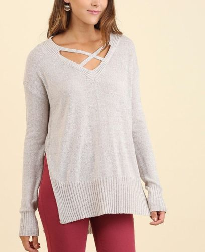 Casual Sunday Split Side Hem Knit Top Light Gray S M L
