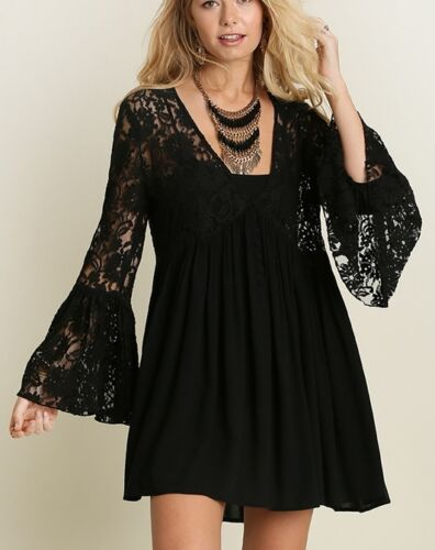 Lace and Dreams Boho Tunic Mini Dress Lace Bodice And Sleeves Black S