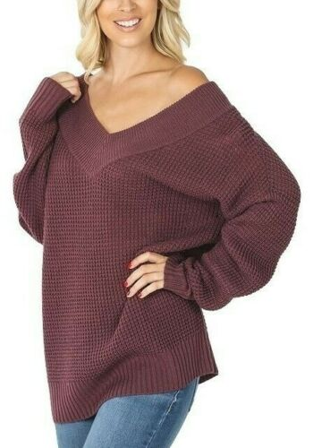 Amanda Waffle Knit Sweater Wide V Neck Long Sleeve Eggplant L XL