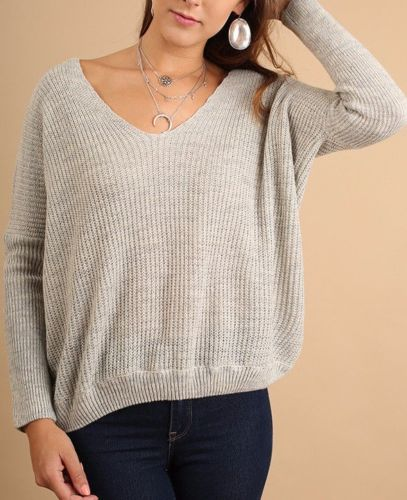 Casual Cross Back Sweater Top Light Weight Umgee Heather Grey S M L