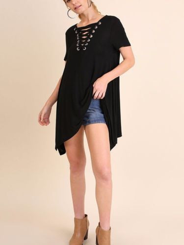 Lace It Up Asymmetrical Hem Tunic Top Short Sleeve Black S M L