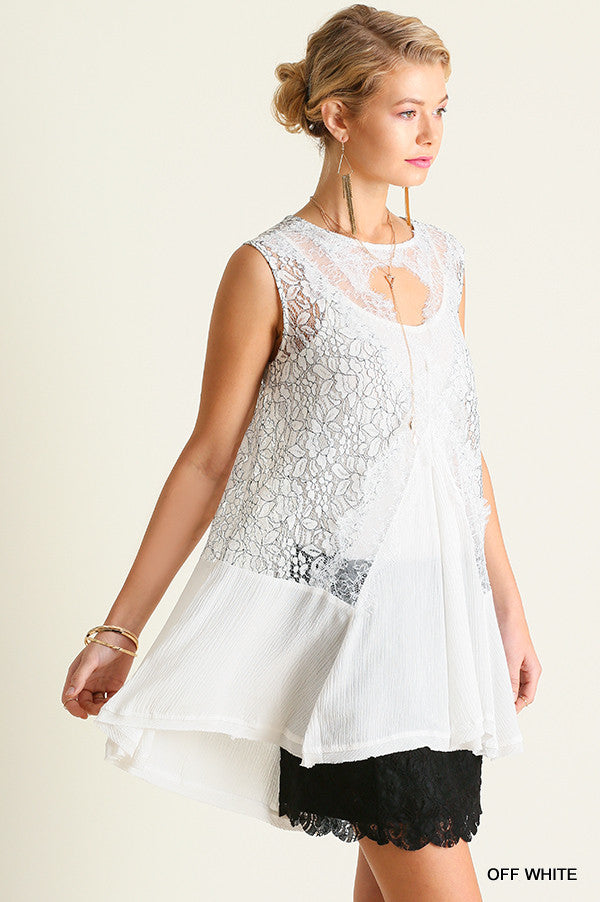 Lacey Daze Flowing Floral Lace Tank Top Tunic  Key Hole Front and Back Off White S M L
