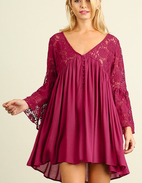 Lace and Dreams Boho Tunic Mini Dress Lace Bodice And Sleeves Red  S