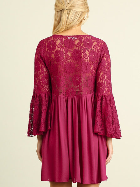 Lace and Dreams Boho Tunic Mini Dress Lace Bodice And Sleeves Wine S