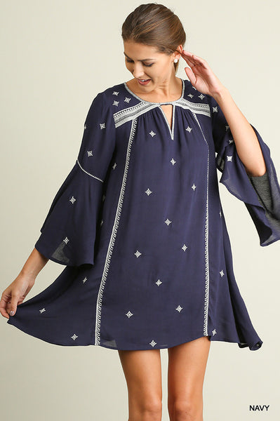 Day Dream Delight Boho Dress With Keyhole Neck & Embroidery Detail Navy S