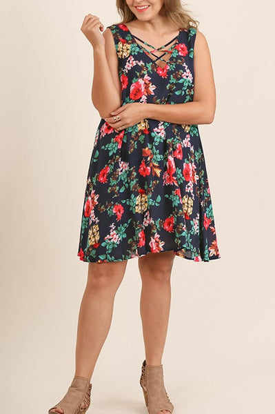 Floral Escape Summer Dress Criss Cross Neckline Sleeveless Navy Floral Plus Size XL 1XL 2XL