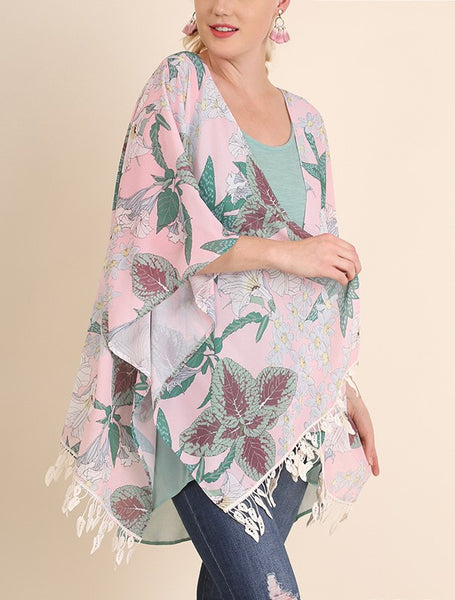 Garden Delight Open Plus Size Kimono Jacket Botanical Print Blush XL/1XL  1XL/2XL
