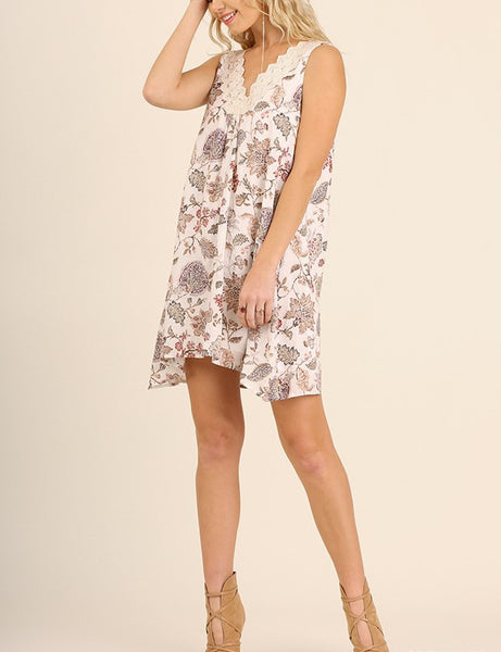 Sale. Perfect Day Floral Shift Dress Floral Print Lace Detail Cream Floral Print S