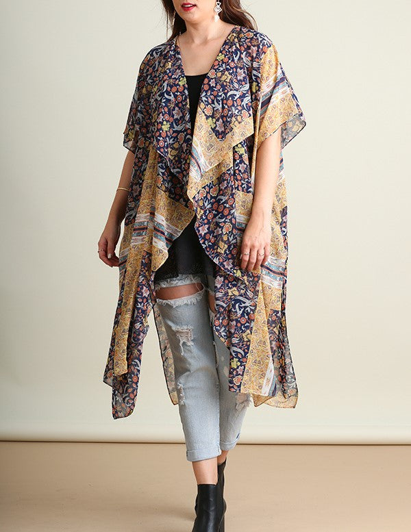 Perfect Afternoon Kimono Duster Open Front Navy and Honey Gold Print Plus Size XL/1XL  1XL/2XL