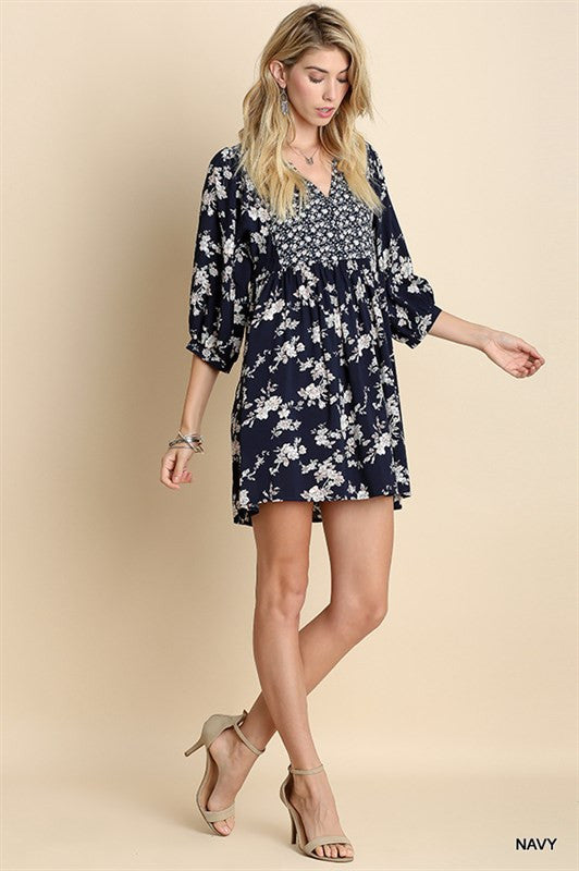 Take Me To The Country Boho Chic Mini Dresss Urban Hippie Navy Floral Country Print S