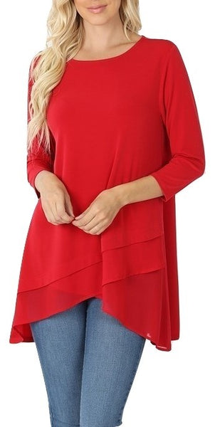 Beautiful Basic ITY Knit Top With Chiffon Layered Hem Accent Red S M L XL