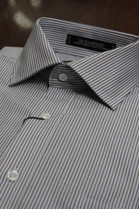 Blue and Tan University Stripe Dress Shirt