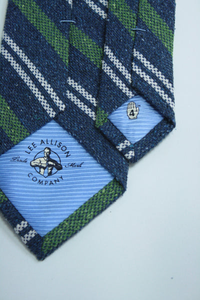 Blue Raw Silk Two-Tone Stripe Tie