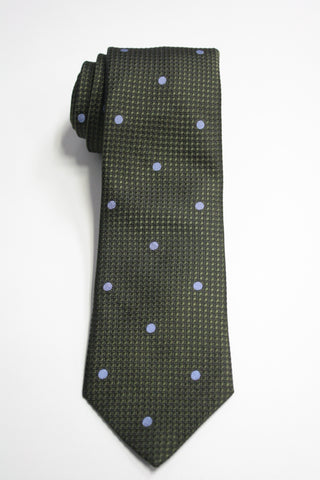 Olive Embroidered Dot Tie