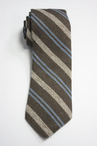 Brown Raw Silk Two-Tone Stripe Tie