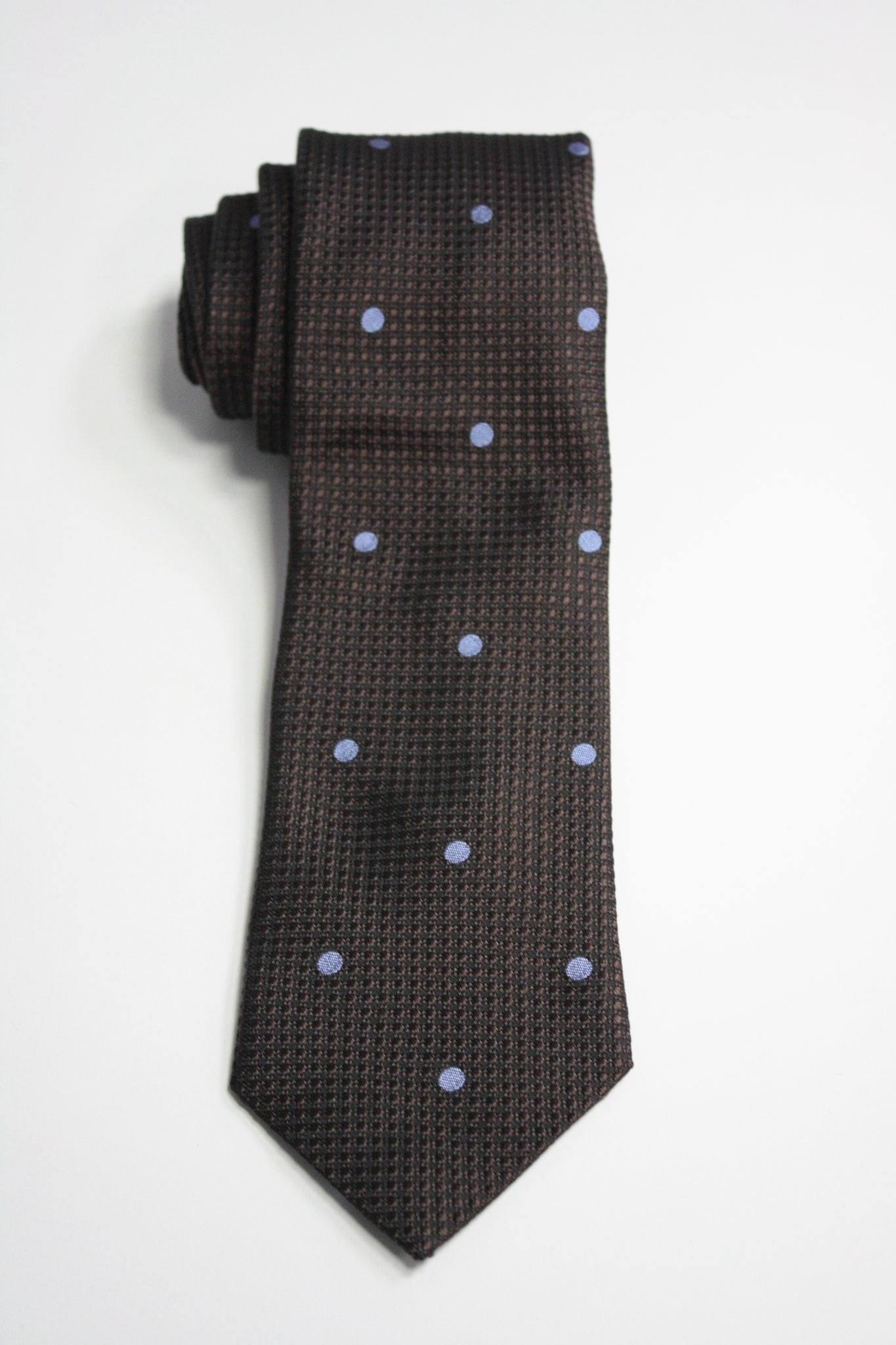 Mocha Embroidered Dot Tie