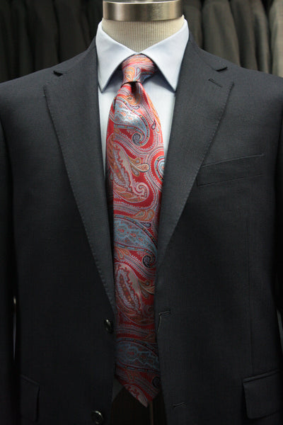 Red With Ornate Blue Paisley Tie