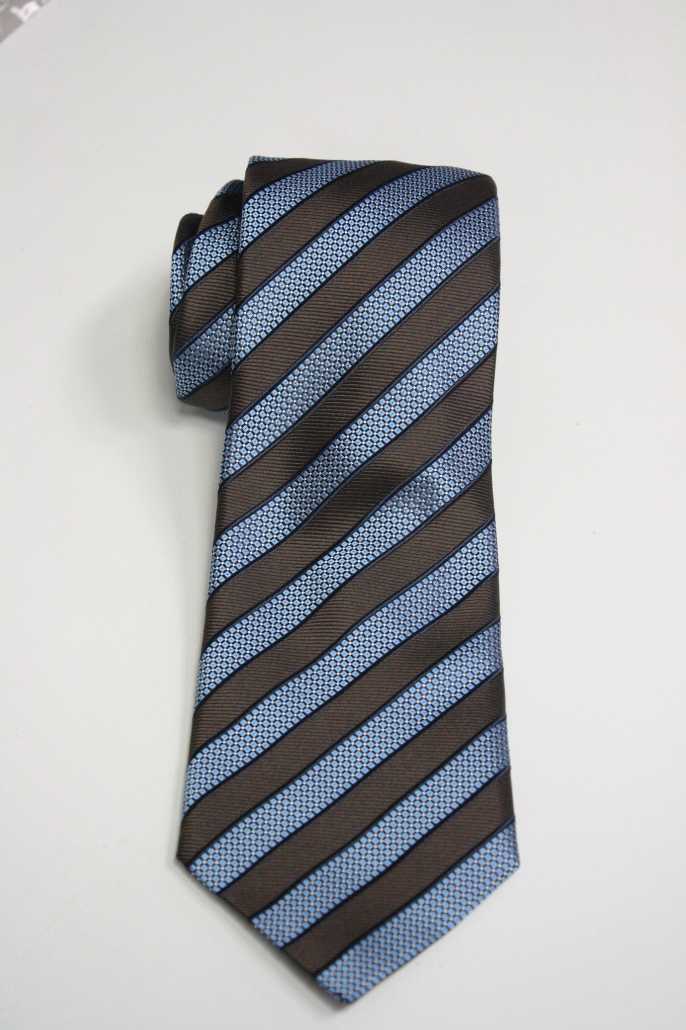 Brown and Light Blue Striped Tie