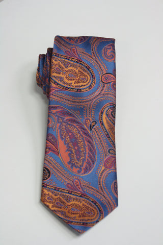 Blue With Ornate Gold Paisley Tie