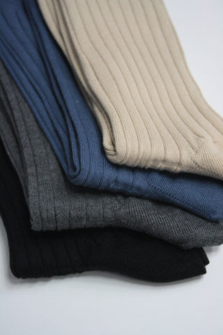Ribbed Essence of Cotton Mid-Calf Sock