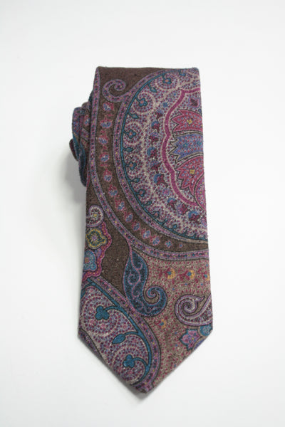 Brown Raw Silk Jumbo Paisley Tie