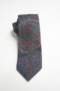 Denim Blue Raw Silk Jumbo Paisley Tie