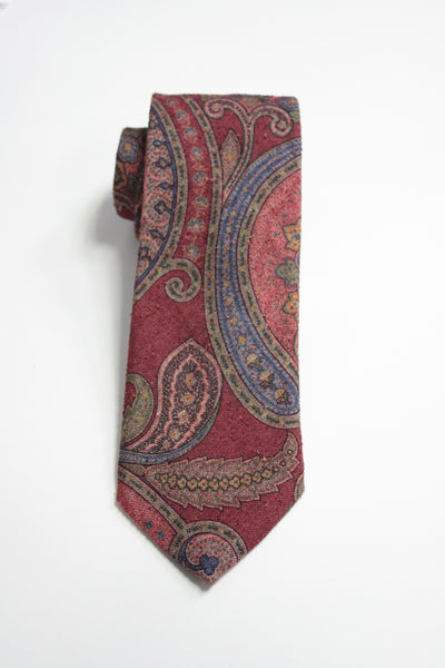 Red Raw Silk Jumbo Paisley Tie