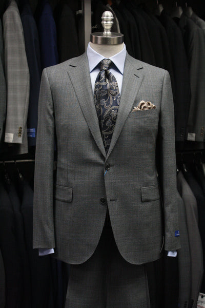 Mid Grey Plaid Slim Suit