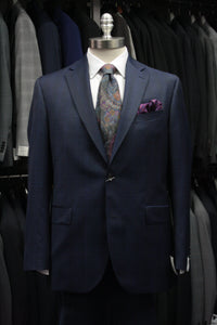 Dark Blue Windowpane Suit