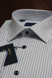 Blue Triple Stripe Dress Shirt