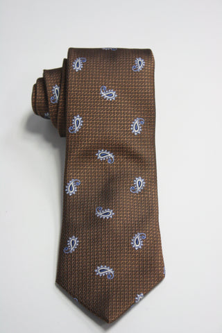 Caramel Tie With Blue Amoebas