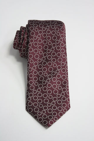 Burgundy Tie With White Circles