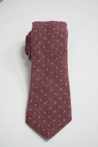 Pink Raw Silk Tie With White Dots