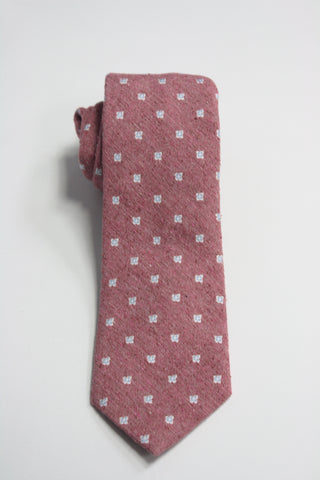 Pink Raw Silk Tie With Blue Floral Motif