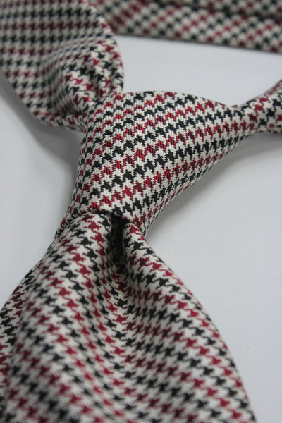 Cream, Black, and Red Puppytooth Tie