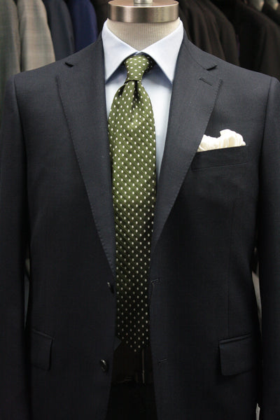 Olive Tie With Ivory Ovals
